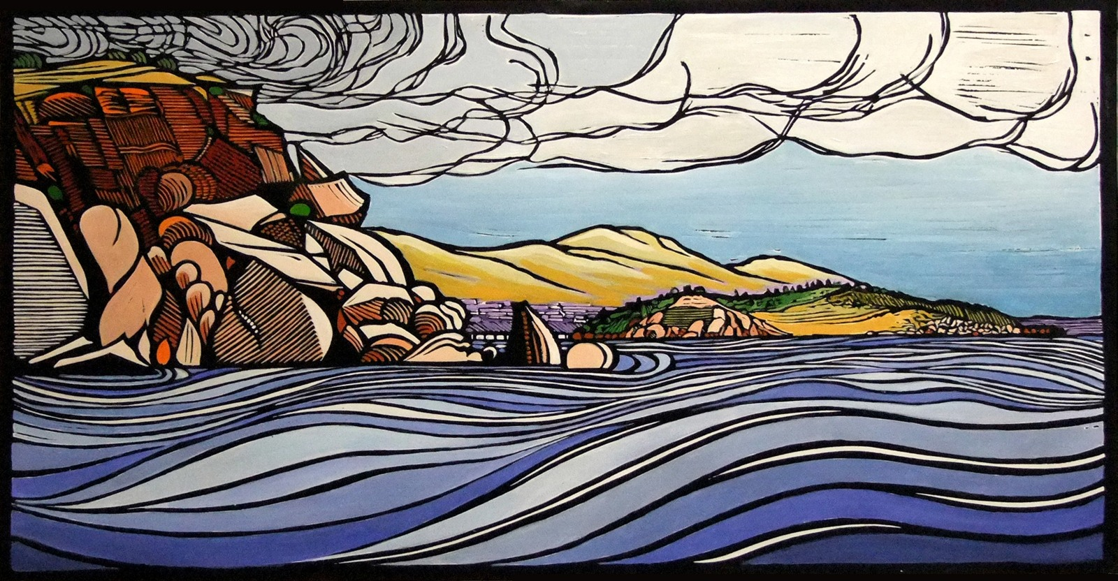 Past Wright to Granite island - Victor Harbor | 75cm w x 40cm h | $550 unframed